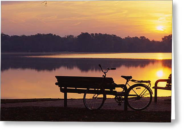 Reflection Of Trees In Water Greeting Cards - Two Benches With A Bicycle Greeting Card by Panoramic Images