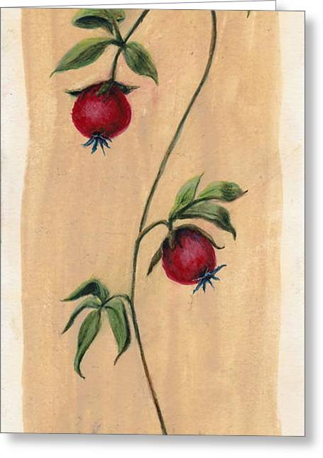 Egg Tempera Paintings Greeting Cards - Two Berries Greeting Card by Eric Suchman