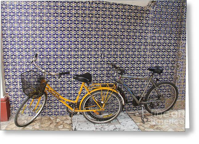 Linda Queally Greeting Cards - Two Bicycles at the Hotel Belmar Greeting Card by Linda Queally