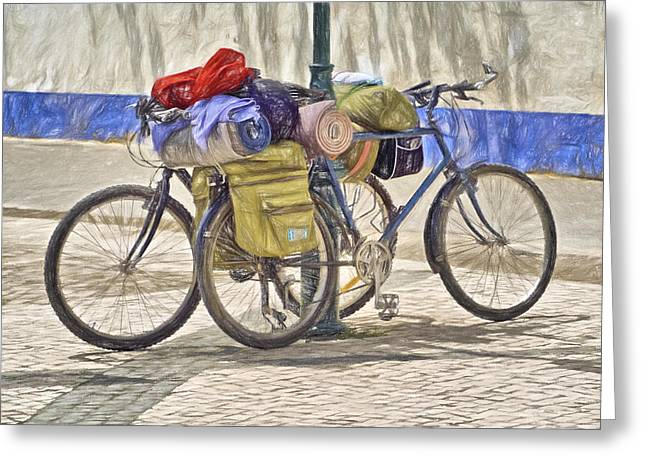 Bike Riding Drawings Greeting Cards - Two Bicycles  Greeting Card by David Letts