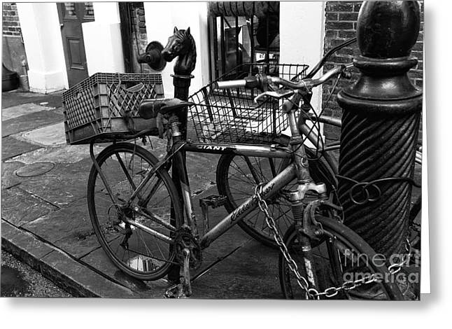 Two Bicycles In New Orleans Mono Greeting Card by John Rizzuto