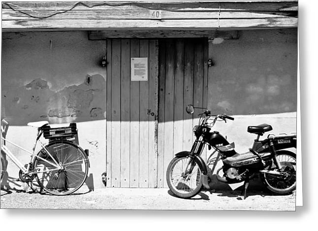 Motorized Greeting Cards - Two Bikes Greeting Card by Nomad Art And  Design