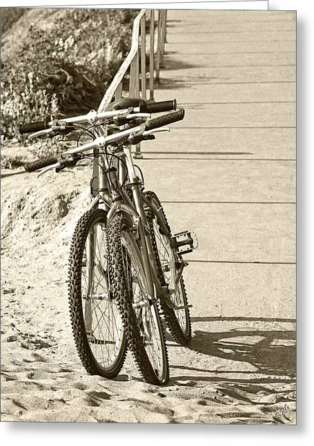 Two Bikes Greeting Cards - Two Bikes On The Beach Greeting Card by Ben and Raisa Gertsberg