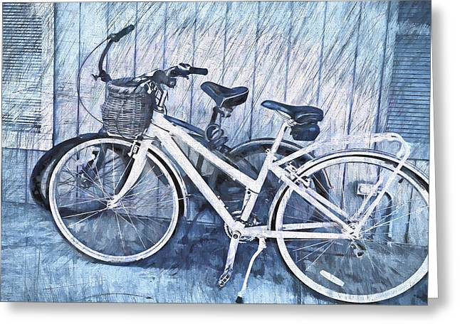 Bicycle Kick Greeting Cards - Two Bikes Greeting Card by Vivian Frerichs
