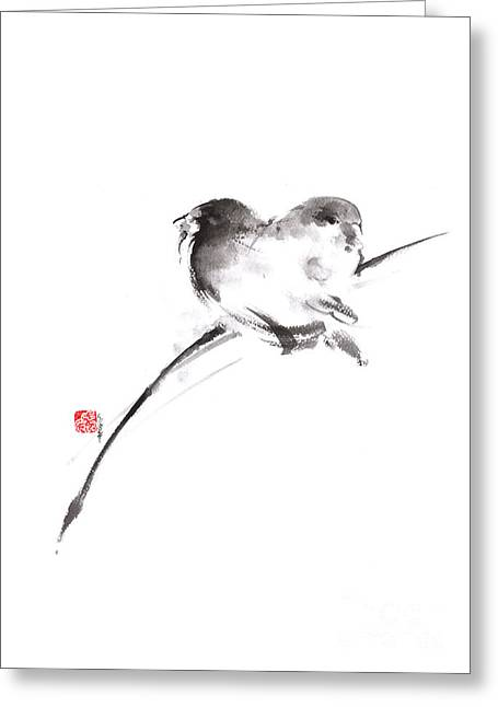 Two Birds Minimalism Artwork. Greeting Card by Mariusz Szmerdt