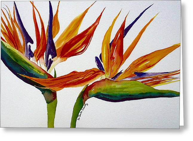 Strelitzia Paintings Greeting Cards - Two Birds of Paradise Greeting Card by Susan Duda