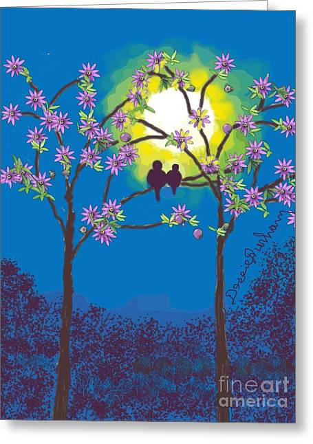 Sunlight On Flowers Digital Greeting Cards - Two Birds Roosting in a Sun Set Greeting Card by Dessie Durham