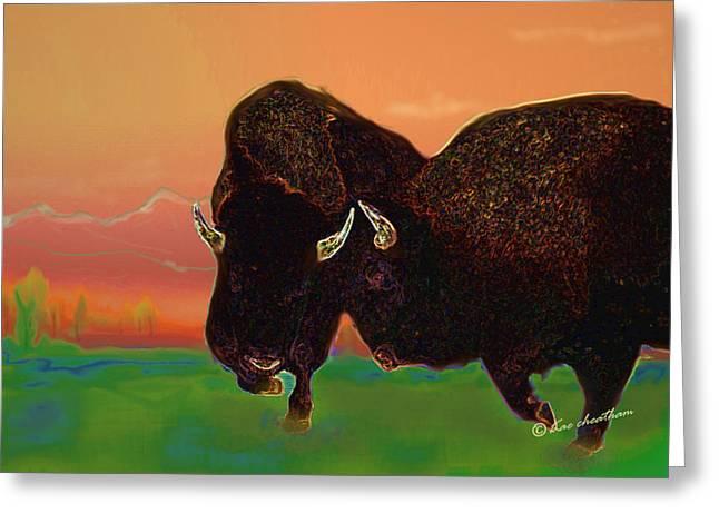 Two Bison Greeting Card by Kae Cheatham