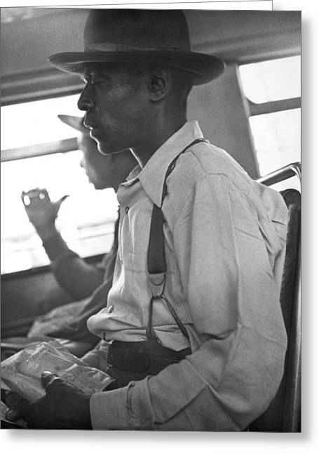 Two Black Men On A Bus Greeting Card by Underwood Archives