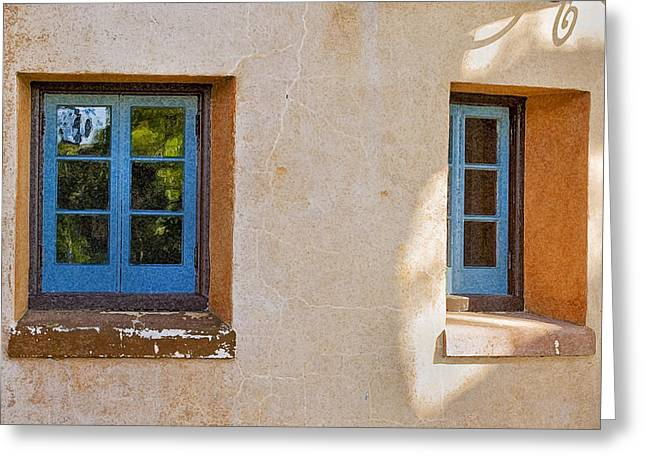 Historic Home Greeting Cards - Two Blue Windows Greeting Card by Rich Franco