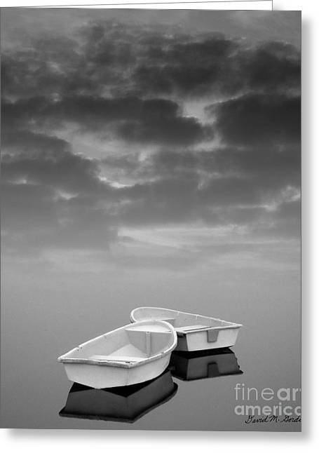 Reflecting Water Digital Art Greeting Cards - Two Boats and Clouds Greeting Card by David Gordon