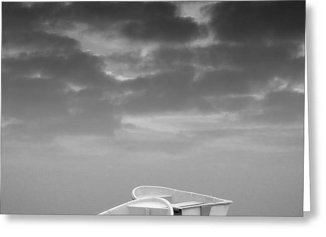 Two Boats and Clouds Greeting Card by David Gordon
