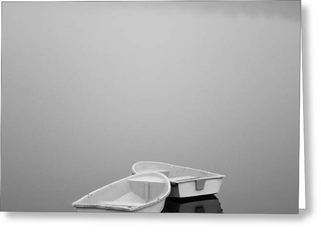 Two Boats and Fog Greeting Card by Dave Gordon
