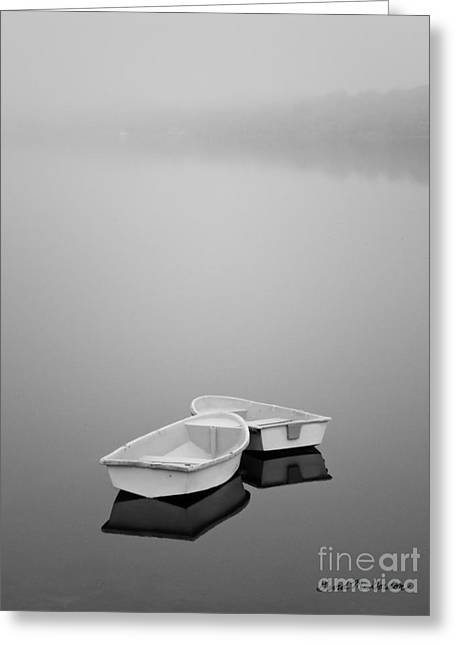 Meditative Greeting Cards - Two Boats and Fog Greeting Card by Dave Gordon