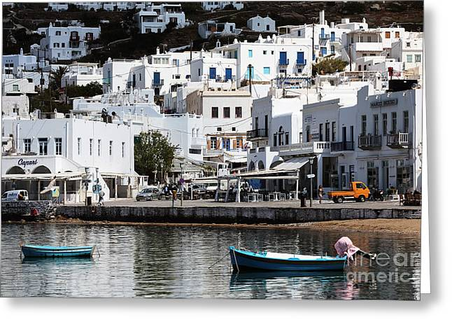 Boats In Water Greeting Cards - Two Boats in Mykonos Greeting Card by John Rizzuto