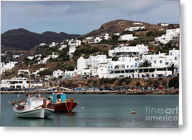 Buildings In The Harbor Greeting Cards - Two Boats in the Mykonos Harbor Greeting Card by John Rizzuto