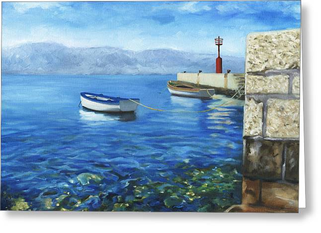 Boats In Water Greeting Cards - Two Boats Greeting Card by Joe Maracic