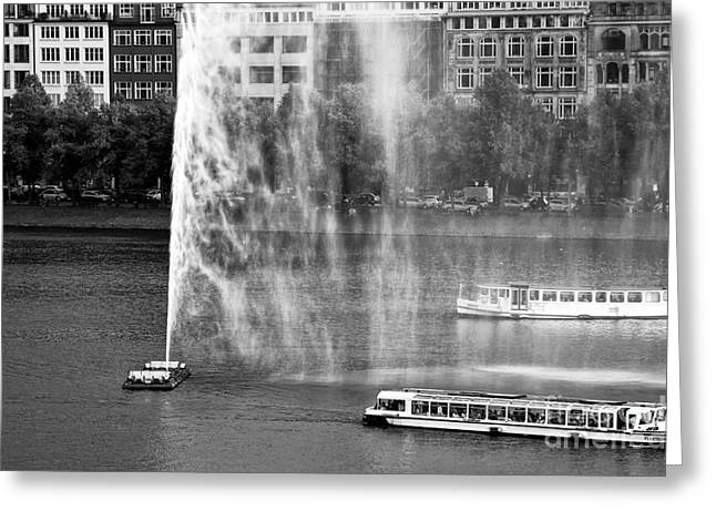 Boats On Water Greeting Cards - Two Boats on Alster Lake Greeting Card by John Rizzuto