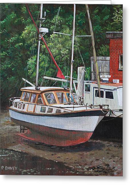 Sailing Boat Greeting Cards - Two boats on Eling Mudflats Greeting Card by Martin Davey