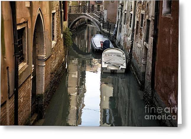 Boats On Water Greeting Cards - Two Boats on the Canal in Venice Greeting Card by John Rizzuto