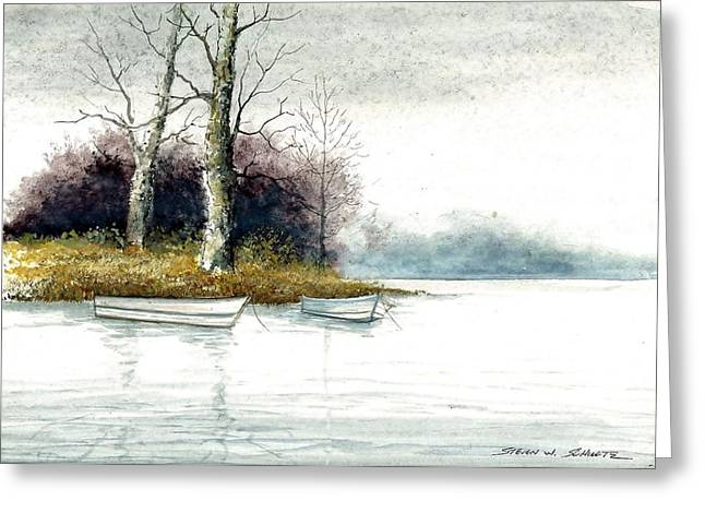 Award Winning Art Greeting Cards - Two Boats Greeting Card by Steven Schultz