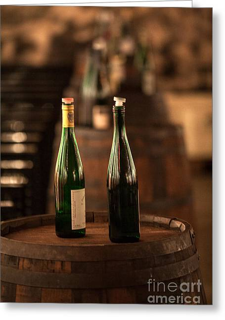 Cellar Greeting Cards - Two Bottles of Wine Greeting Card by Iris Richardson