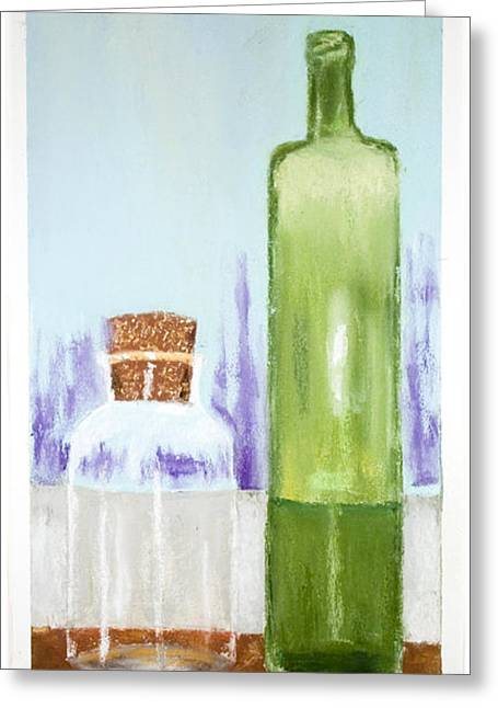 Bottled Pastels Greeting Cards - Two Bottles on a Sill Greeting Card by Lawrence Golla