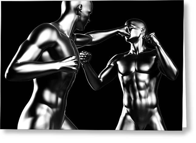 Two Boxers Fighting Greeting Card by Sebastian Kaulitzki