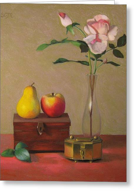 Flower Boxes Pastels Greeting Cards - Two Boxes Greeting Card by Susan Goldstein Monahan