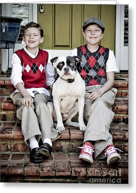 Dog Sweaters Greeting Cards - Two boys and their dog Greeting Card by Jt PhotoDesign