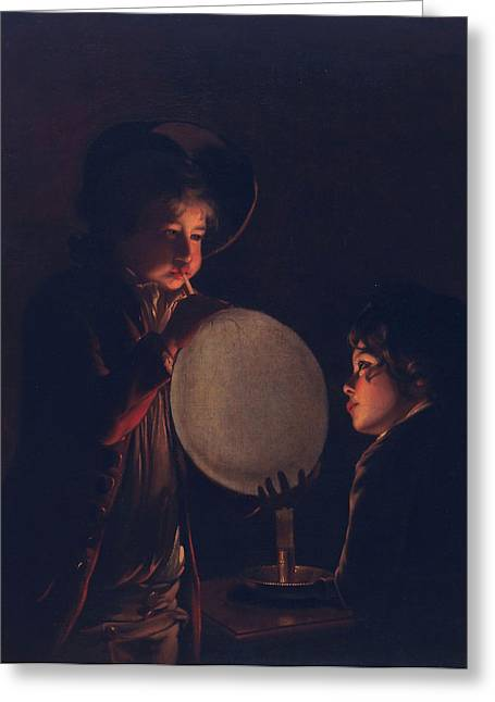 Two Boys By Candlelight, Blowing Greeting Card by Joseph Wright of Derby