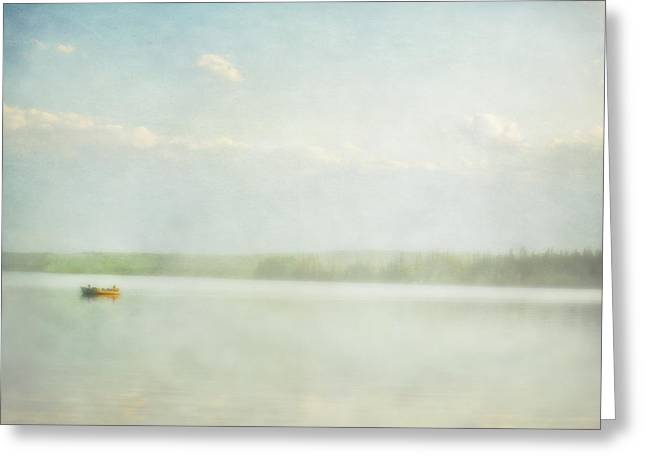 Fishing Trip Greeting Cards - Two Boys In A Fishing Boat In Cow Lake Greeting Card by Roberta Murray