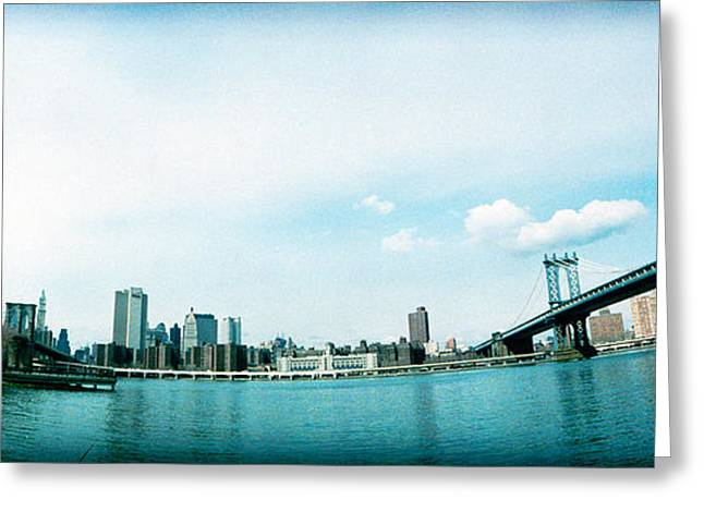 Dumbo Greeting Cards - Two Bridges Across A River, Brooklyn Greeting Card by Panoramic Images