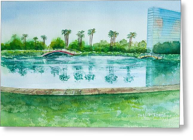 Hyatt Hotel Paintings Greeting Cards - Two Bridges at Rainbow Lagoon Greeting Card by Debbie  Lewis