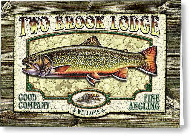 Jon Q Wright Brook Trout Fly Fishing Fly Fish Fishing Nymph Stream River Lake Greeting Cards - Two Brook Lodge Greeting Card by JQ Licensing
