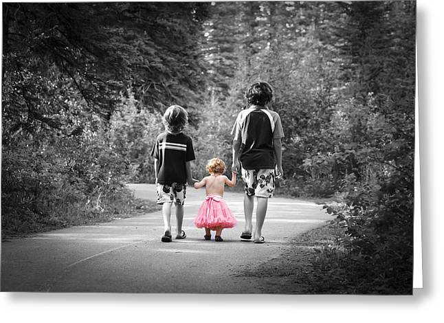 Pink Tutu Skirt Greeting Cards - Two Brothers and a Pink Tutu  Greeting Card by Brandon Smith