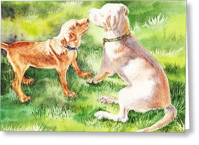 Puppies Paintings Greeting Cards - Two Brothers Labradors Greeting Card by Irina Sztukowski