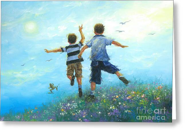 Vickie Wade Paintings Greeting Cards - Two Brothers Leaping Greeting Card by Vickie Wade