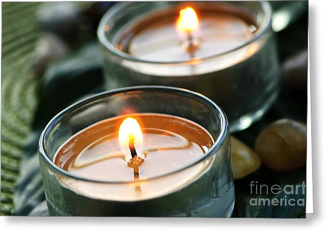Wax Greeting Cards - Two Candles Greeting Card by Elena Elisseeva