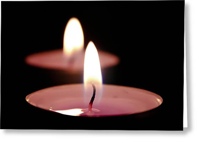 Candle Lit Greeting Cards - Two candles Greeting Card by Kevin Lee-Cerrino