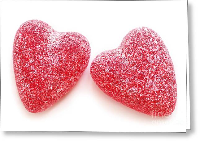 Affectionate Greeting Cards - Two candy hearts Greeting Card by Elena Elisseeva