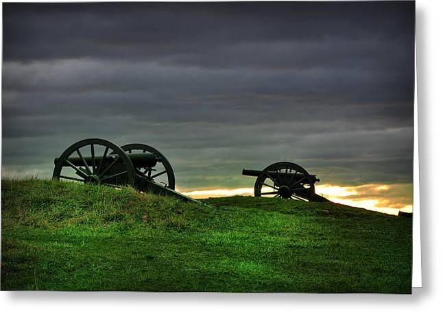 Two Cannons At Gettysburg Greeting Card by Bill Cannon