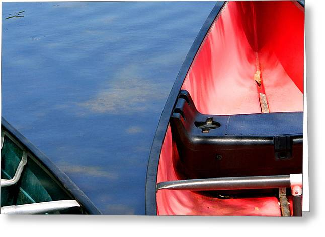 California Beach Art Greeting Cards - Two Canoes Greeting Card by Art Block Collections