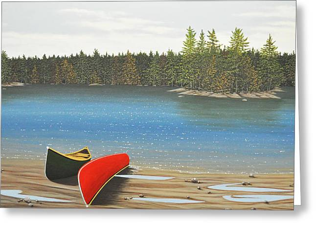 Canoe Greeting Cards - Two Canoes Greeting Card by Kenneth M  Kirsch