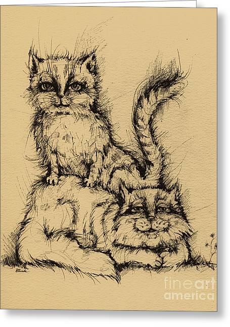 Pussy Drawings Greeting Cards - Two Cats Greeting Card by Angel  Tarantella