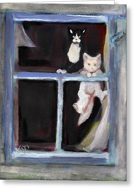 Two Cats Find An Old Window Sill Greeting Card by Kemberly Duckett