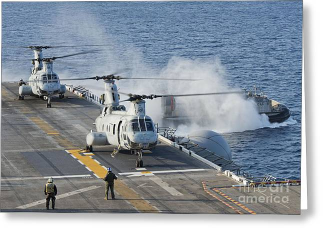 Getting Air Greeting Cards - Two Ch-46e Sea Knight Helicopters Greeting Card by Stocktrek Images
