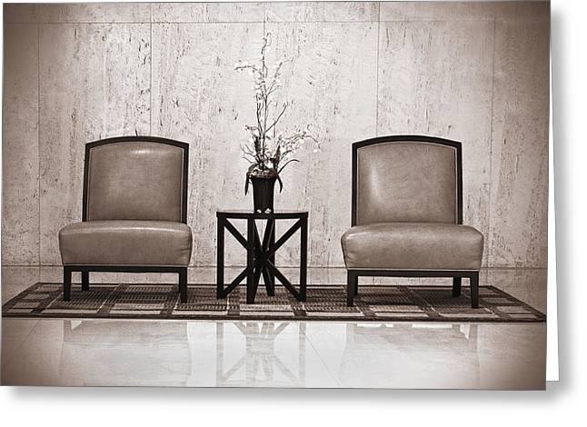 Coffee Table Greeting Cards - Two chairs and a table with a plant  Greeting Card by Rudy Umans