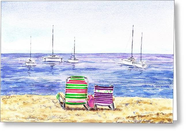 Ocean Shore Paintings Greeting Cards - Two Chairs On The Beach Greeting Card by Irina Sztukowski