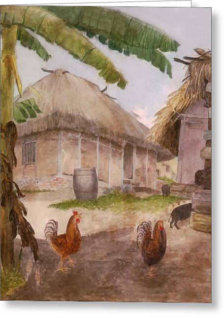 Tropical Island Greeting Cards - Two Chickens Two Pigs and Huts Jamaica Greeting Card by William Berryman